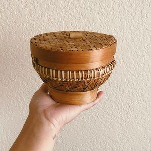 Vintage Lidded Pedestal Rattan Storage Basket